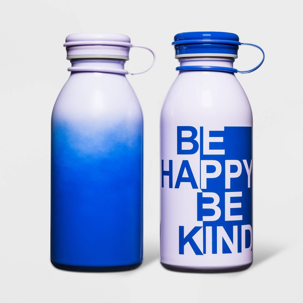 Image of 12oz 2pk Stainless Steel Water Bottle Be Happy Be Kind Purple - Cat & Jack