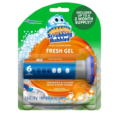 Scrubbing Bubbles Fresh Gel Toilet Cleaning Stamp Citrus Dispenser with 6 Stamps