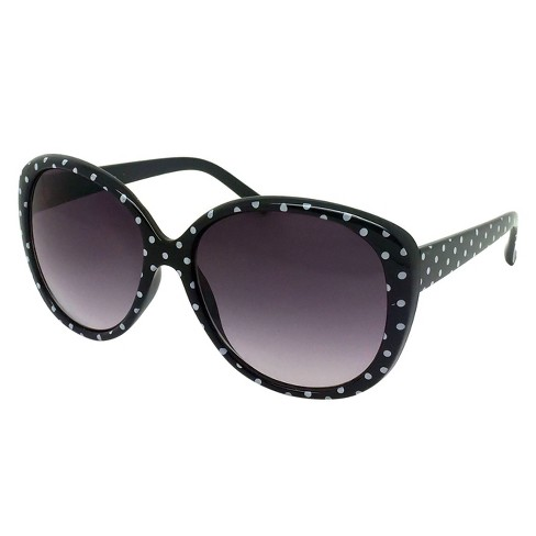 Women's Round Sunglasses with Polka Dots - Black/White - image 1 of 2