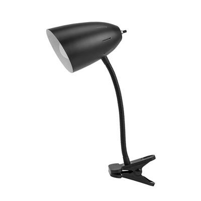 """19"""" Metal Gooseneck Clip-On Desk Table Lamp (Includes LED Light Bulb) Black - Cresswell Lighting"""