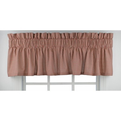"Ellis Curtain Logan Check High Quality Fabric Water Proof Room Darkening Blackout Tailored Window Valance - (70""x12"")"