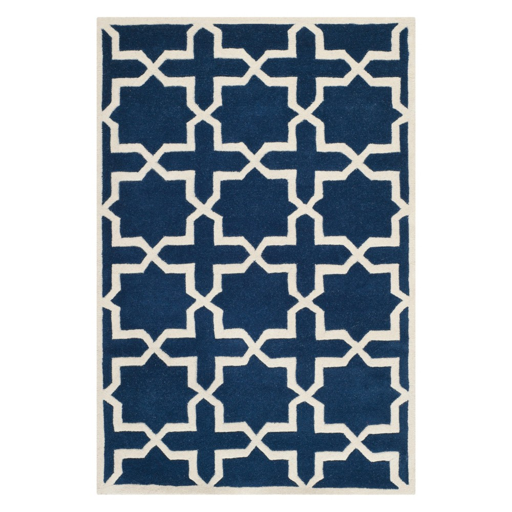 3X5 Quatrefoil Design Tufted Accent Rug Dark Blue/Ivory - Safavieh Price