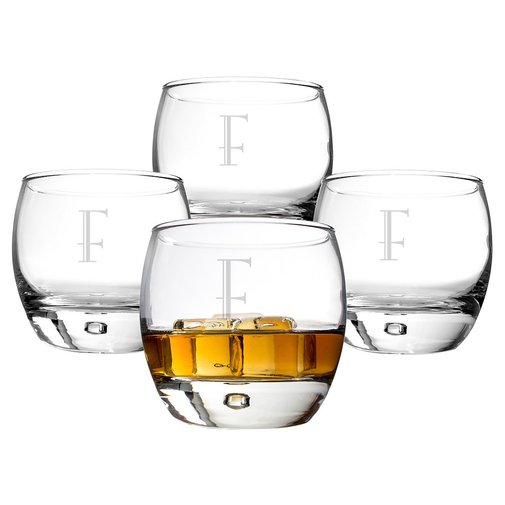 Cathy's Concepts Personalized 10.75 oz. Heavy Based Whiskey Glasses (Set of 4)-F, Clear