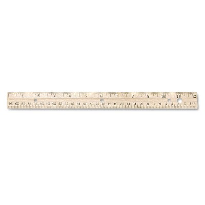 """Westcott Hole Punched Wood Ruler English and Metric With Metal Edge 12"""" 10702"""