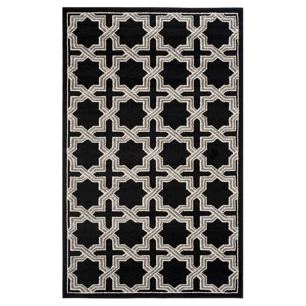 Anthracite/Gray Abstract Loomed Area Rug - (4'x6') - Safavieh, Black