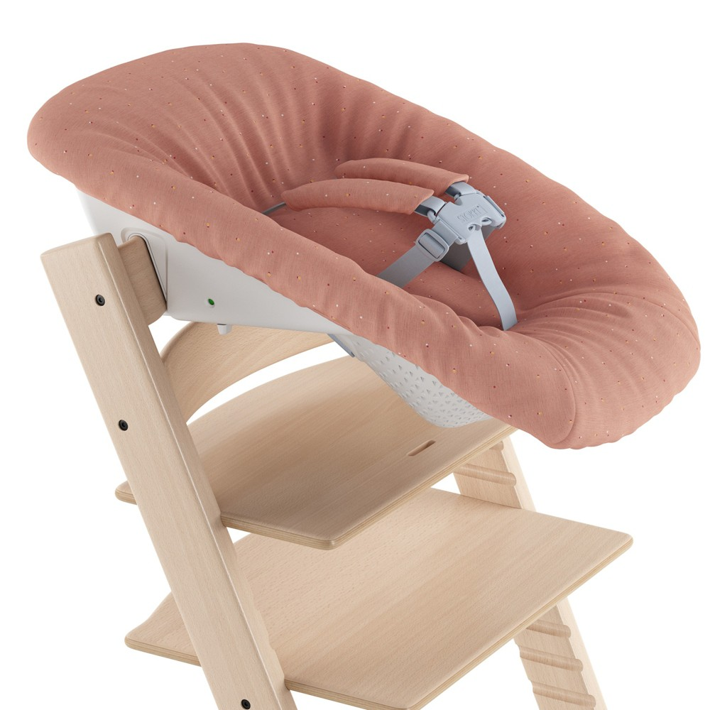 Image of Stokke Tripp Trapp Newborn High Chair Accessory Set - Coral Confetti, Pink Confetti