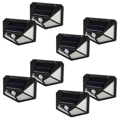Dartwood Outdoor Solar Lights with Motion Sensor - 100 LED 450 Lumens Bright Weatherproof Wall Spotlight for Gardens Porches Walkways Patio (4-8 Pack)