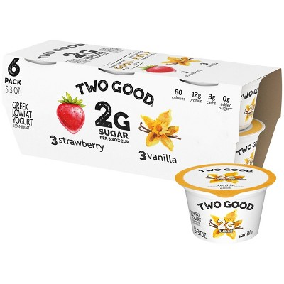 Dannon Two Good Strawberry/Vanilla Greek Yogurt Variety Pack - 6ct/5.3oz Cups