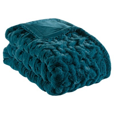 "50""x60"" Ruched Faux Fur Throw Blanket Teal"