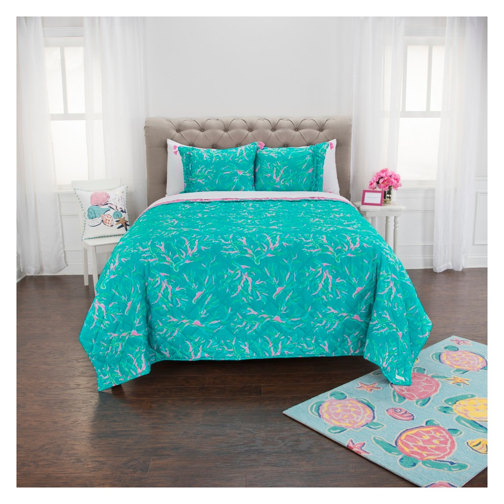 Sea Shell & Coral Aqua/Pink Quilt Set - Simply Southern, Blue Pink