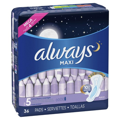 Always Maxi Extra Heavy Overnight Pads - Size 5 - 36ct