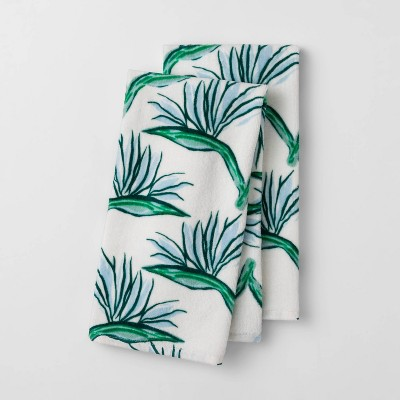 2pk Birds of Paradise Flower Terry Hand Towels Green - Opalhouse™