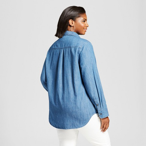 e3114e81837 Women s Plus Size Denim Button-Down Shirt - Ava   Viv™ Medium Wash   Target