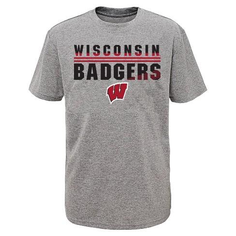 NCAA Wisconsin Badgers Boys' Short Sleeve Gray Performance T-Shirt - image 1 of 1