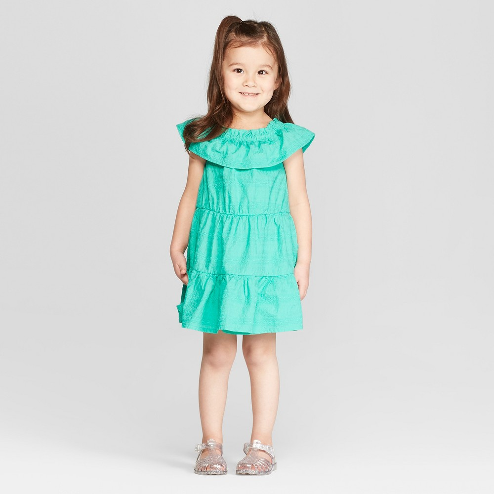 d5afaec1c Genuine Kids from OshKosh Toddler Girls Embroidered A Line Dress Aqua 5T  Blue