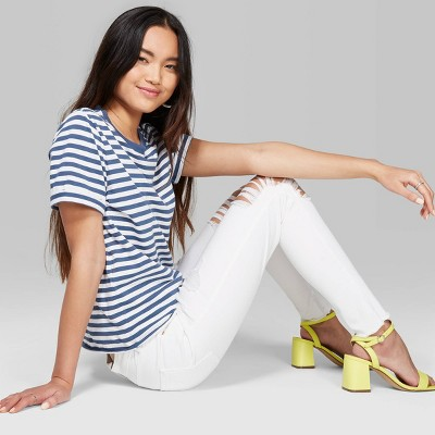 view Women's Striped Short Sleeve Crewneck Ringer Boxy T-Shirt - Wild Fable Muted Blue/White on target.com. Opens in a new tab.