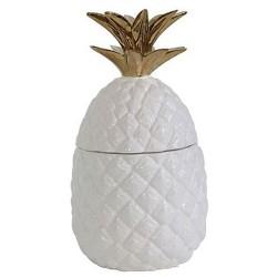 Ceramic Pineapple Shaped Jar - White/Gold - 3R Studios