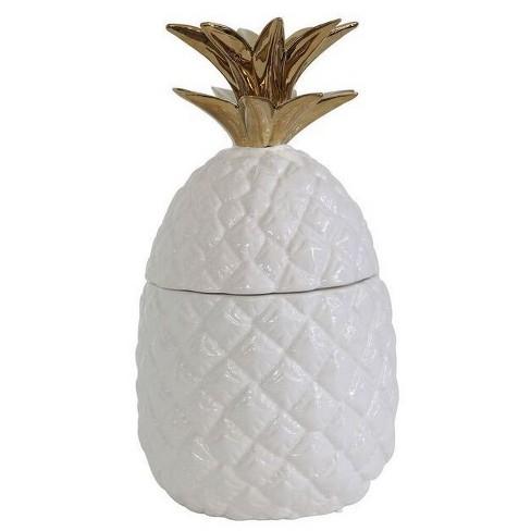 Ceramic Pineapple Shaped Jar White/Gold - 3R Studios - image 1 of 4