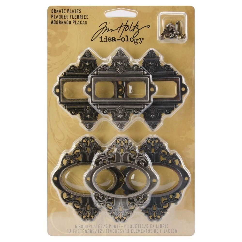 Tim Holtz Metal Ornate Plates with Fasteners-Antq Nickel,Brass,Copper 2.5x2.5, Brass Brown Opaque