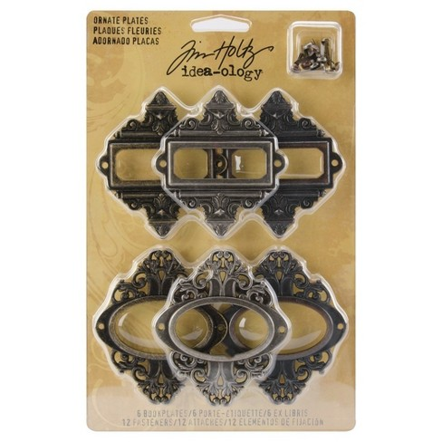 "Tim Holtz Metal Ornate Plates with Fasteners-Antq Nickel,Brass,Copper 2.5""x2.5"" - image 1 of 2"