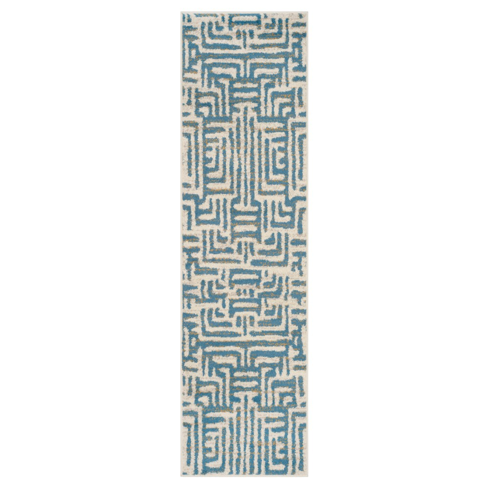 Ivory Light Blue Shapes Loomed Runner 2 3 X8 Safavieh