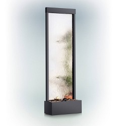 "72"" Mirror Waterfall With Decorative Stones And Light - Silver - Alpine Corporation"