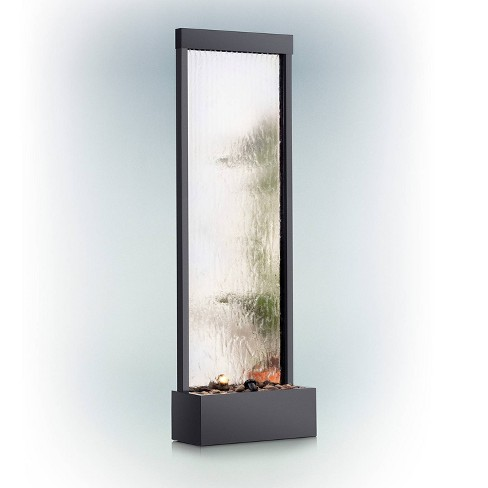 """72"""" Mirror Waterfall With Decorative Stones And Light - Silver - Alpine Corporation - image 1 of 6"""