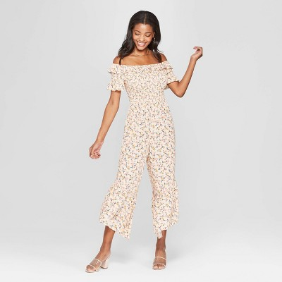 3f89b7cfc40e Women s Floral Print Short Sleeve Off the Shoulder Smocked Top Jumpsuit -  Xhilaration™ Cream