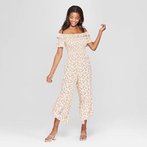 0b3e54c733d Women s Floral Print Short Sleeve Off the Shoulder Smocked Top Jumpsuit -  Xhilaration™ Cream