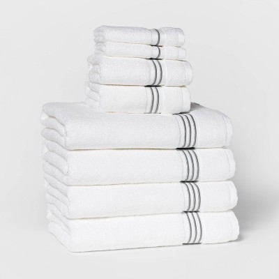 8pc Bath Towel Set Light Gray Stripe - Threshold Signature™