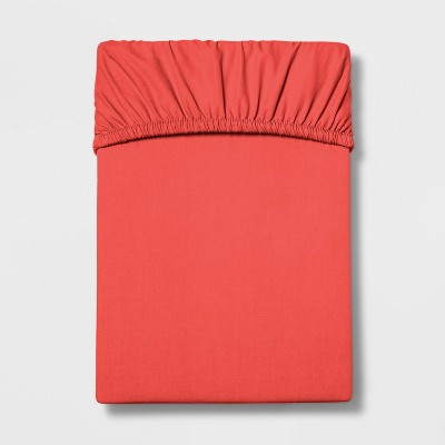 Queen 300 Thread Count Ultra Soft Fitted Sheet Red Orange - Threshold™