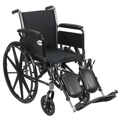 """Drive Medical Cruiser III Light Weight Wheelchair with Flip Back Removable Arms, Full Arms, Elevating Leg Rests, 18"""" Seat"""
