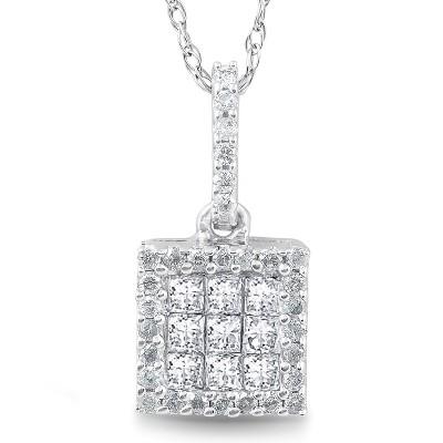 "Pompeii3 3/8 cttw Princess Cut Pave Diamond Halo Pendant 10K White Gold 3/4"" Tall"