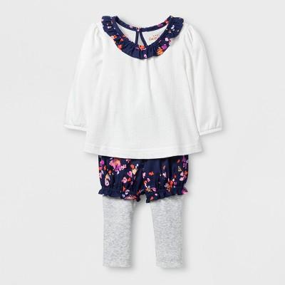 Baby Girls' 2pc Bloomer Leggings and Knit Pointelle Set - Cat & Jack™ Almond Cream 0-3M