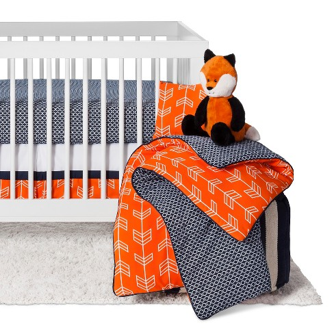 Sweet Jojo Designs Orange Navy Arrow 11pc Crib Bedding Set Sorbet