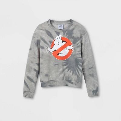 Girls' Ghostbusters Tie-Dye Pullover Sweatshirt - Gray
