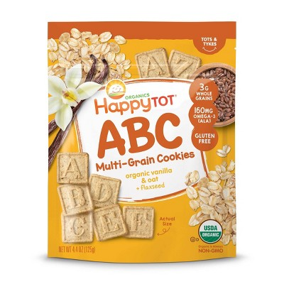 HappyTot ABC Organic Vanilla & Oat with Flaxseed Multi-Grain Cookies Baby Snacks - 4.4oz