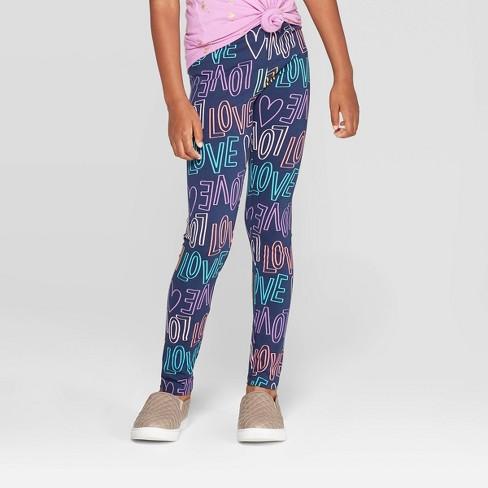 Girls' Love Print Leggings - Cat & Jack™ Navy - image 1 of 3