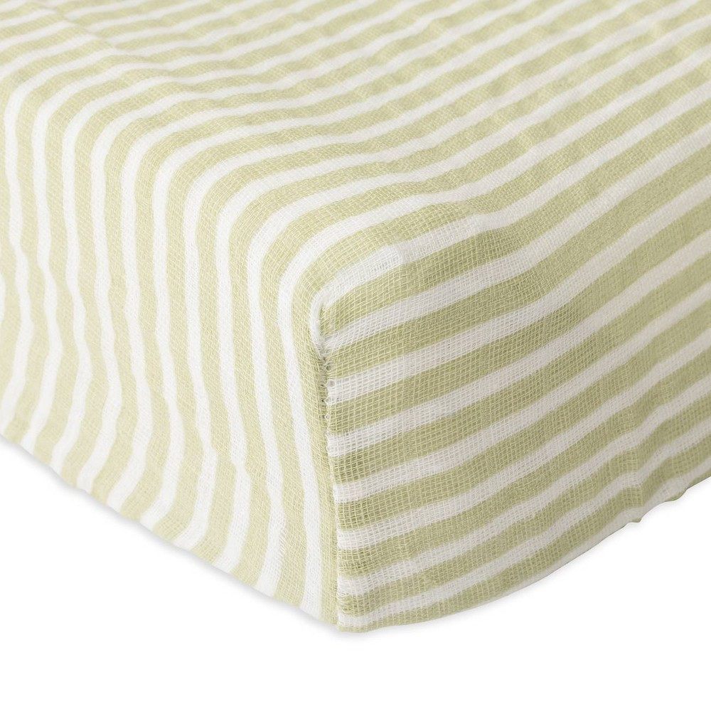 Image of Red Rover Cotton Muslin Changing Pad Cover - Green Stripe