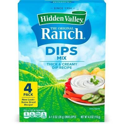 Hidden Valley Original Ranch Dips Mix, Gluten Free, Keto-Friendly - 4 Pk