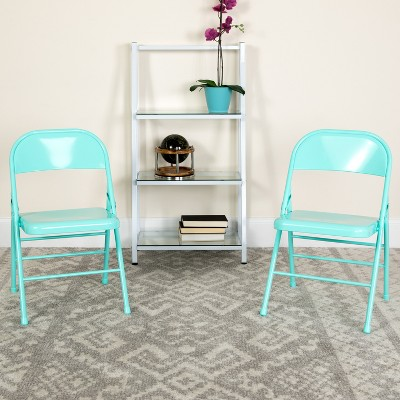 Emma and Oliver 2 Pack Home & Office Colorful Metal Folding Chair Teen and Event Seating
