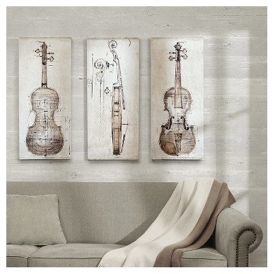 "(Set of 3)15"" x 35"" Violin Study set Printed Canvas With Hand Embellishment Offwhite"