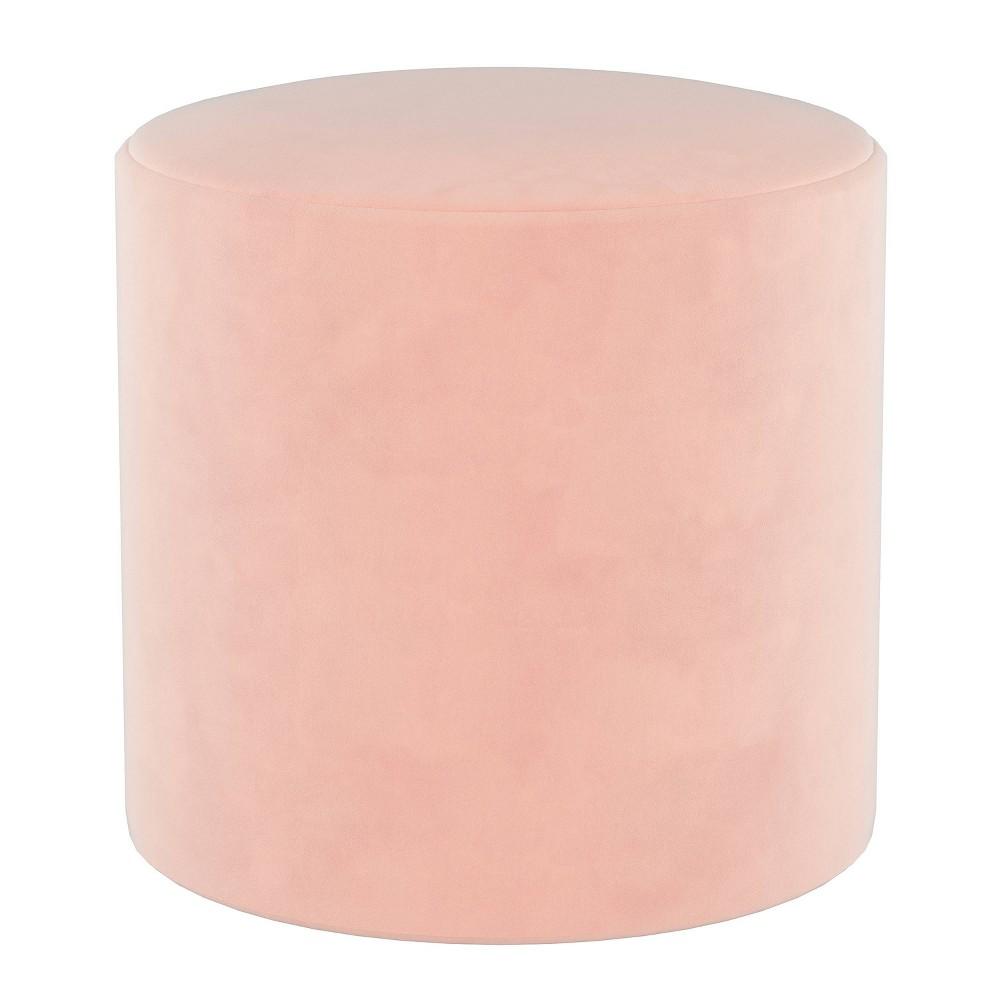 Round Ottoman In Velvet Blush Pink Project 62 8482