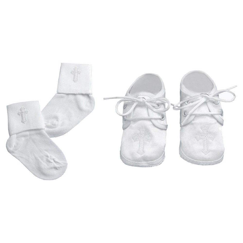 Small World Baby Boys' Satin Shoe with Matching Sock Set - White S