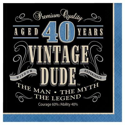 16ct Vintage Dude 40th Birthday Napkins
