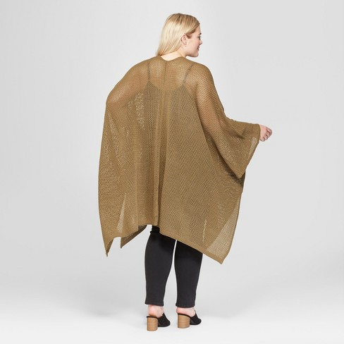 4847a8154114a Women s Plus Size Open Knit Duster Poncho Sweater - Universal Thread™ Vine  Thorn   Target