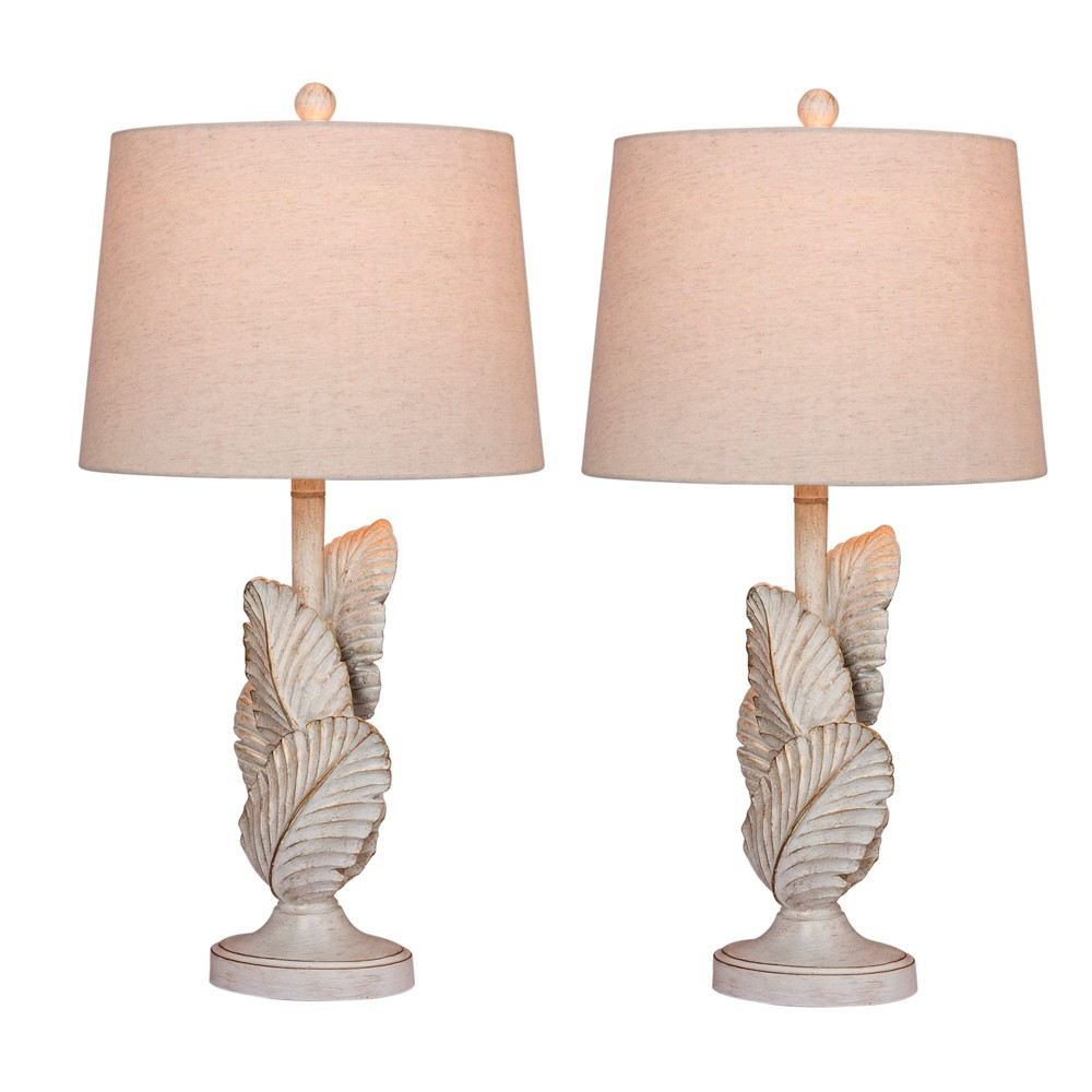 Image of 2pk Island Palm Resin Table Lamps White - Fangio Lighting