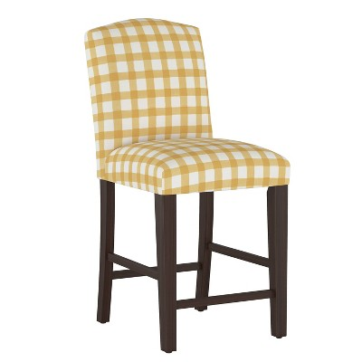 Camel Back Counter Height Barstool Buffalo Gingham Buttercup - Skyline Furniture