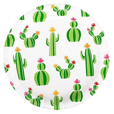 "8.5"" 20ct Cactus Patterned Dinner Paper Plates - Spritz™"