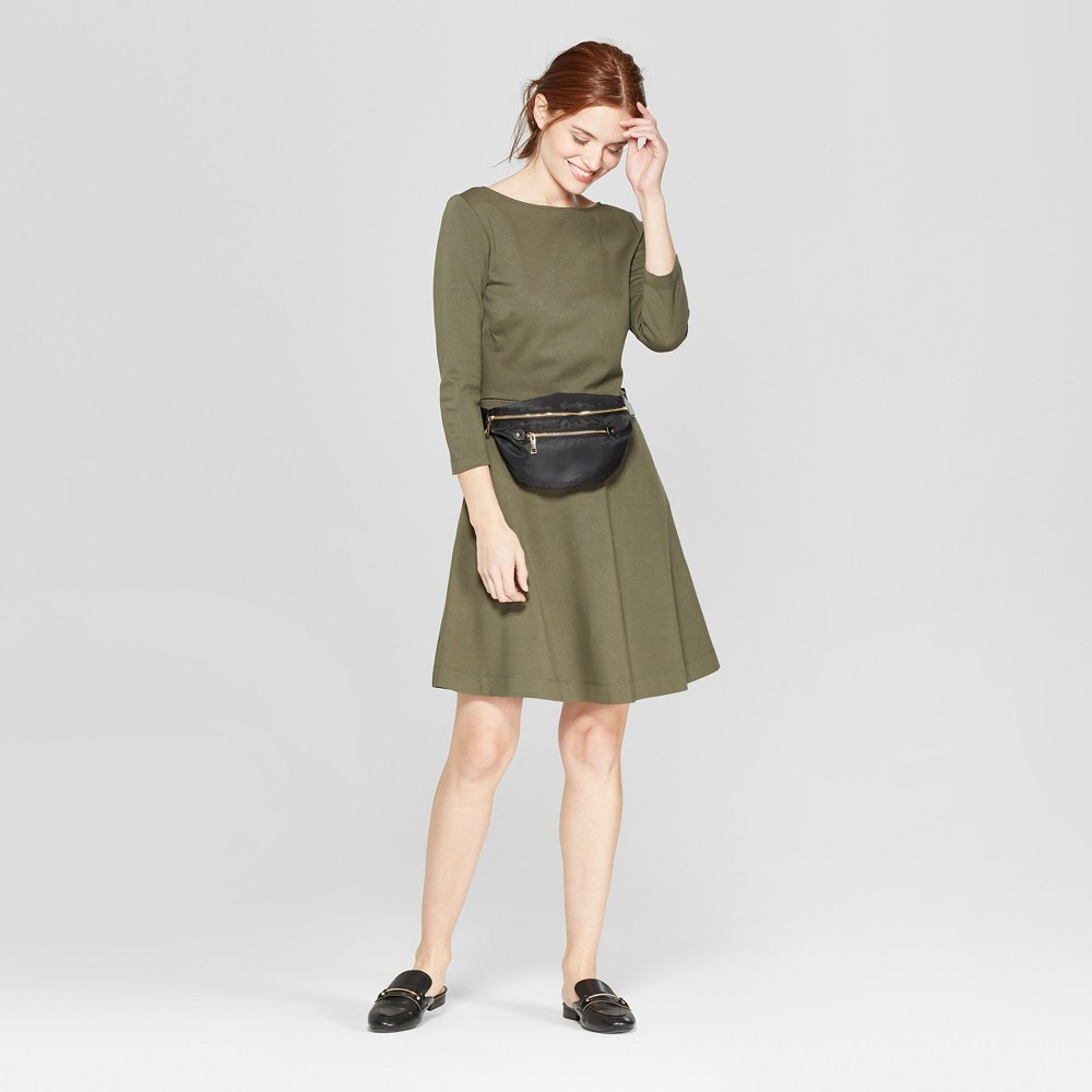 Women's Relaxed Fit 3/4 Sleeve Crew Neck A-Line Ponte Dress - A New Day Olive (Green) S